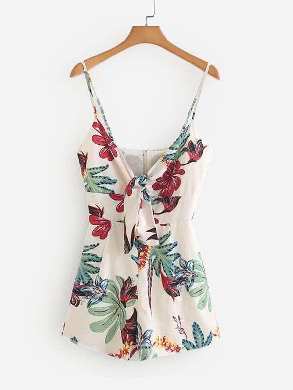 Tie Front Florals Cami Romper, null, SheIn  - купить со скидкой