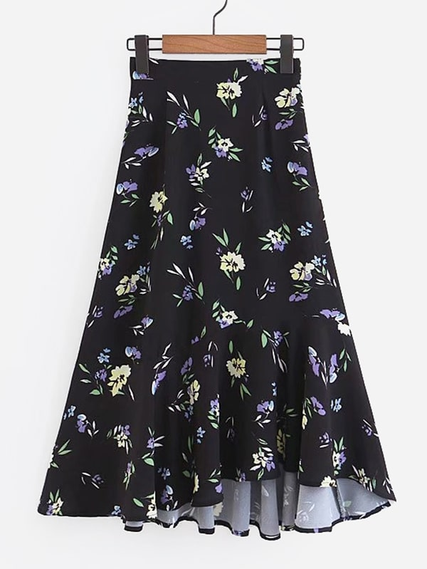 Calico Print Asymmetric Hem Skirt asymmetric hem spot skirt