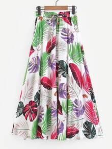 Leaf Print Drawstring Waist Skirt