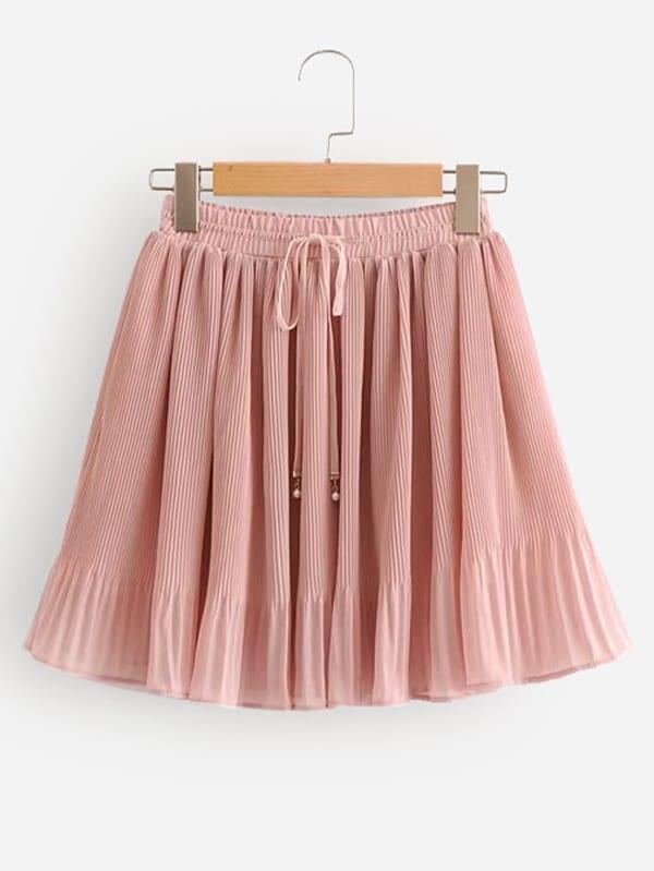 Drawstring Waist Pleated Skirt black pleated design drawstring waist skorts