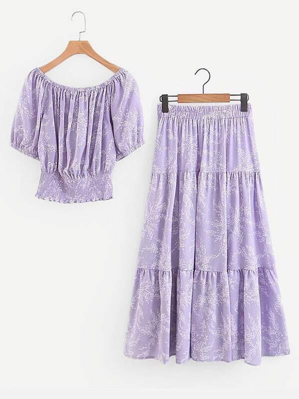 Calico Print Shirred Hem Top With Skirt calico print dip hem top