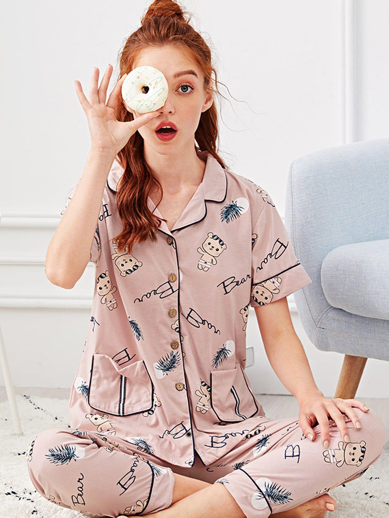 Cartoon Print Button Up Pajama Set all over cartoon print pajama set