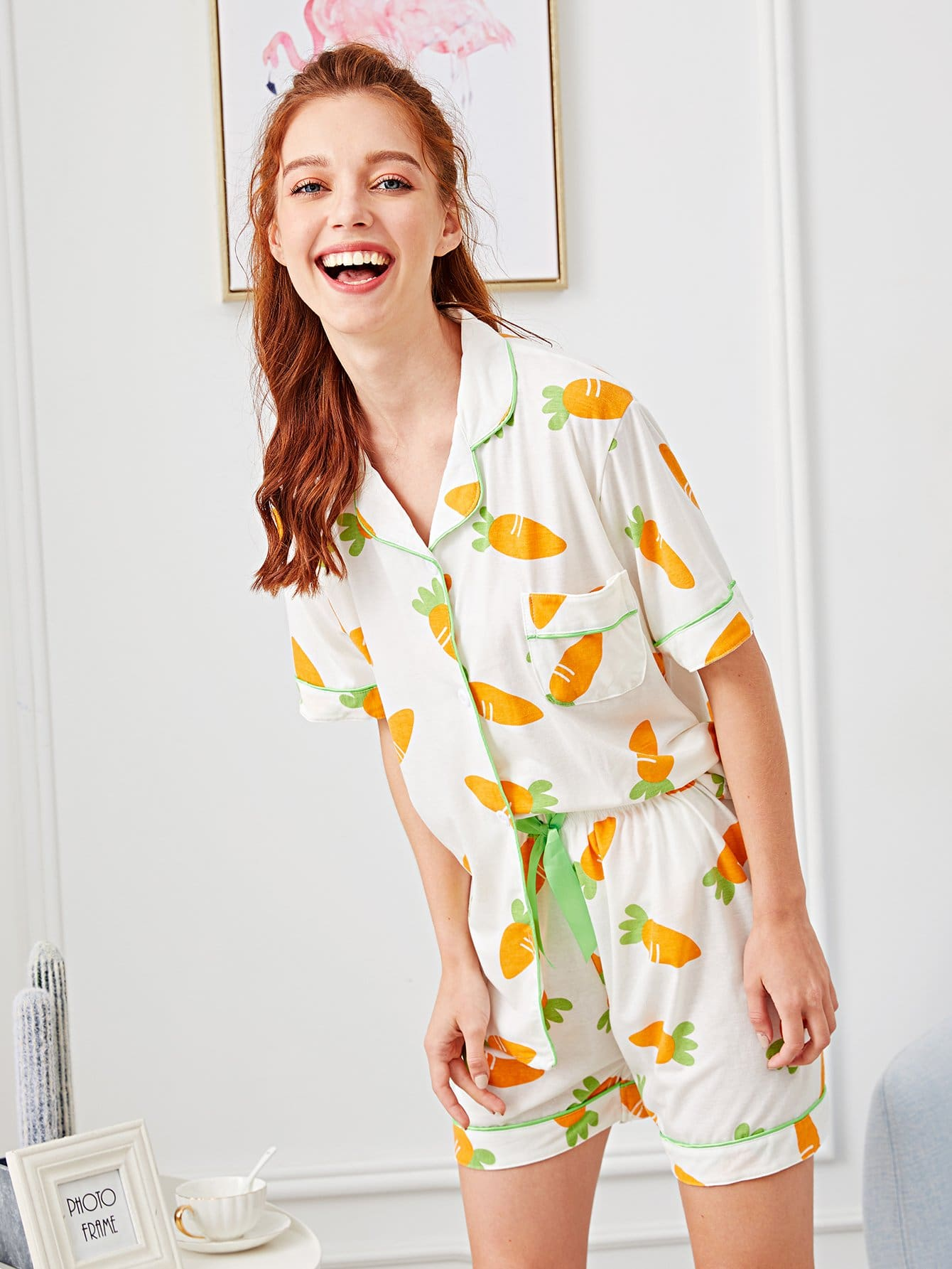 Carrot Print Button Up Pajama Set кабель hp ip cat5 cable 12ft qty 9 ww 263474 b23