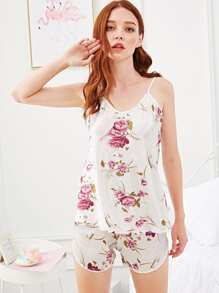 Rose Print Cami Pajama Set