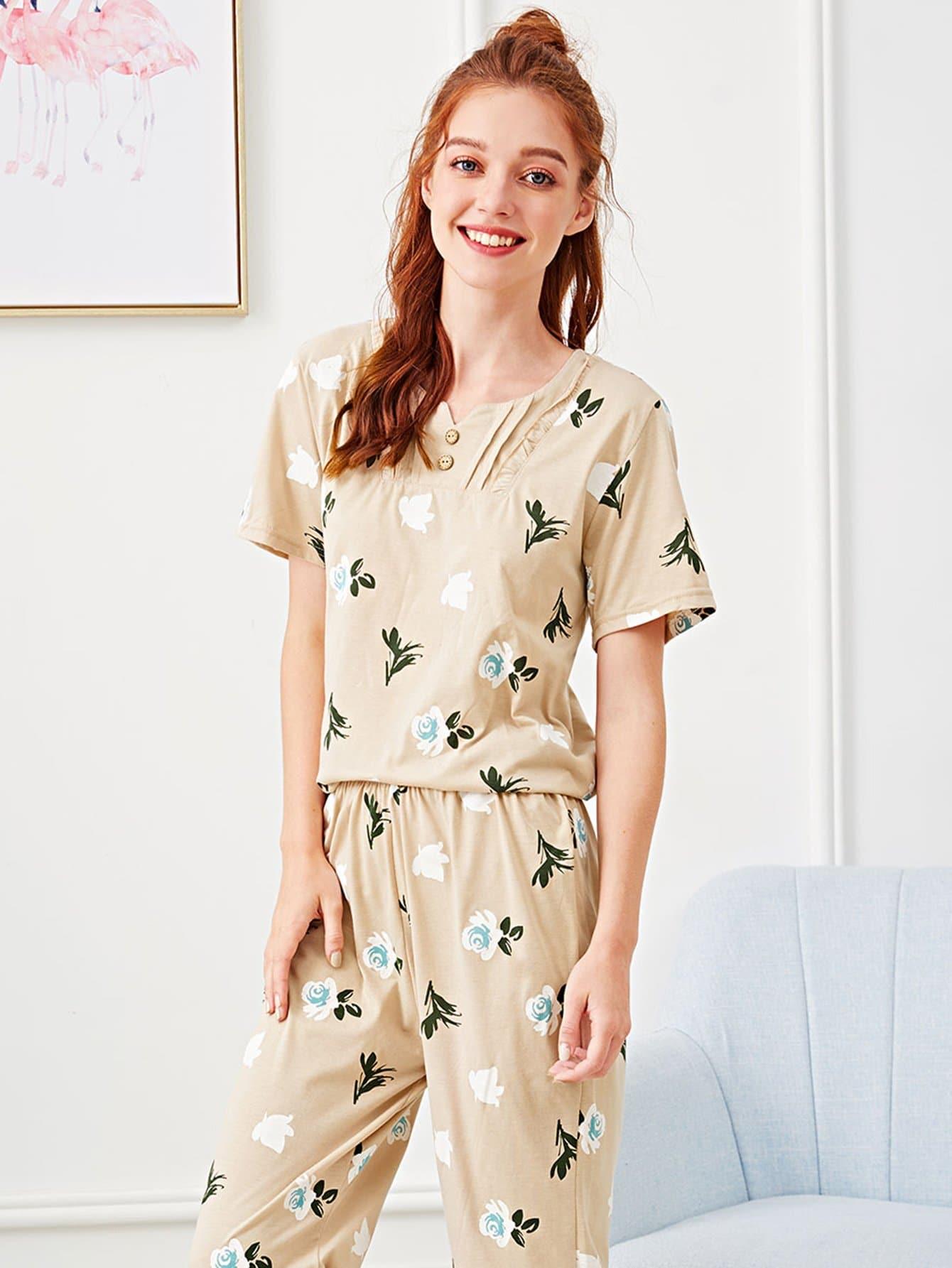 Flower Print Frill Trim Pajama Set cartoon print frill trim cami pajama set