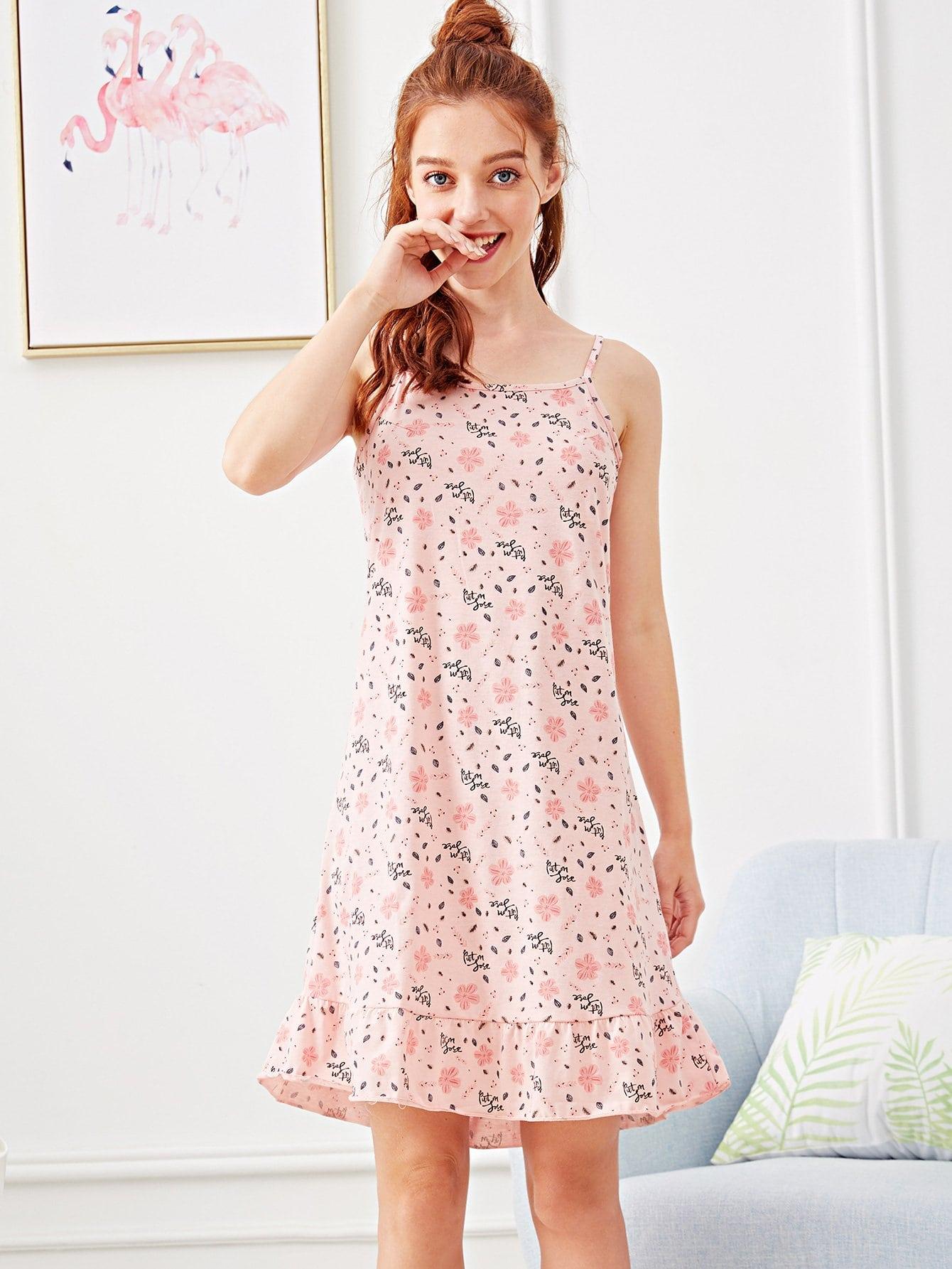 Flower Print Ruffle Hem Cami Dress ruffle embellished flower print cami jumpsuit