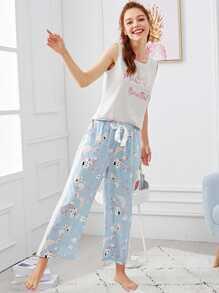 Cartoon & Letter Print Pajama Set