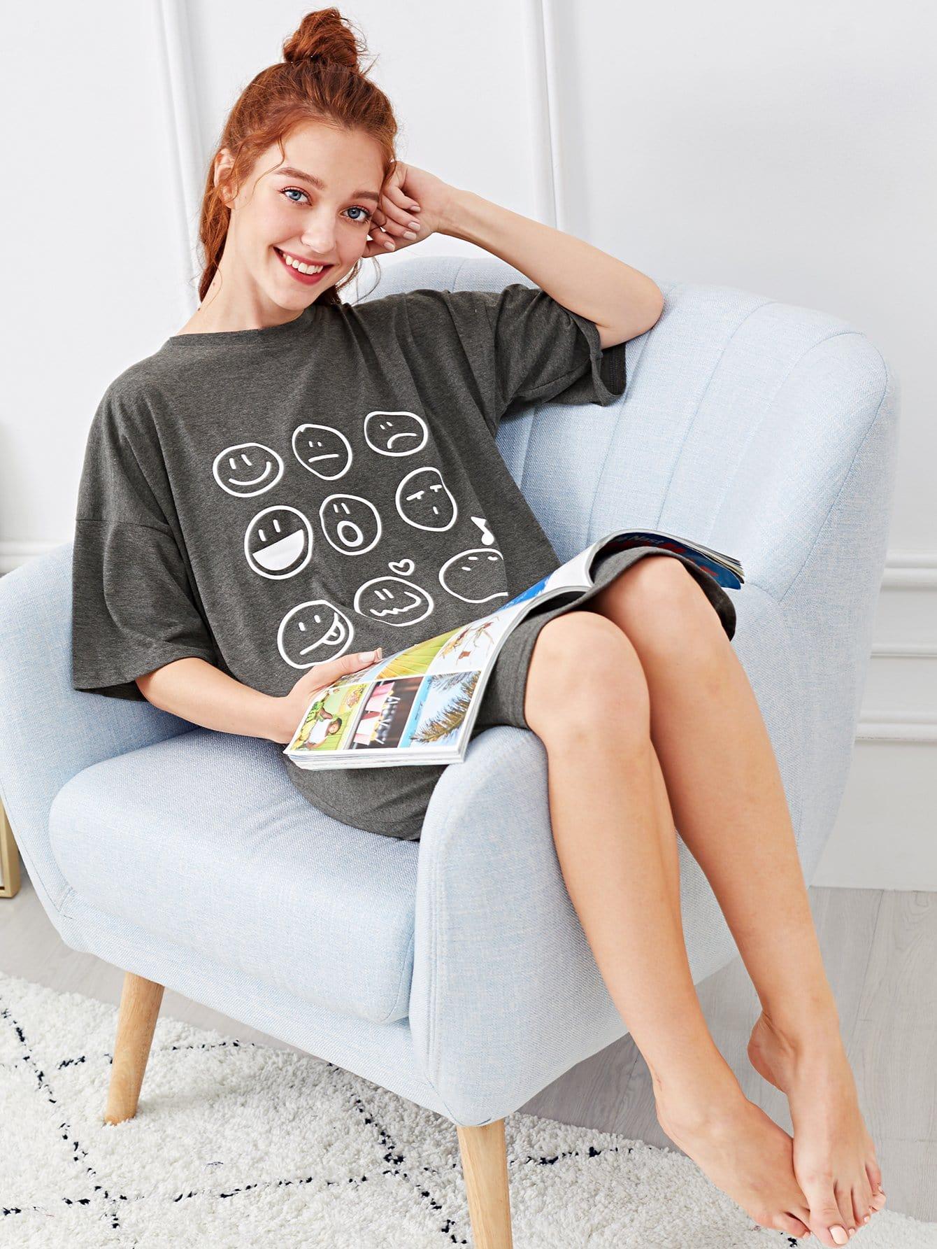 Emoji & Letter Print Night Dress emoji print high low night dress