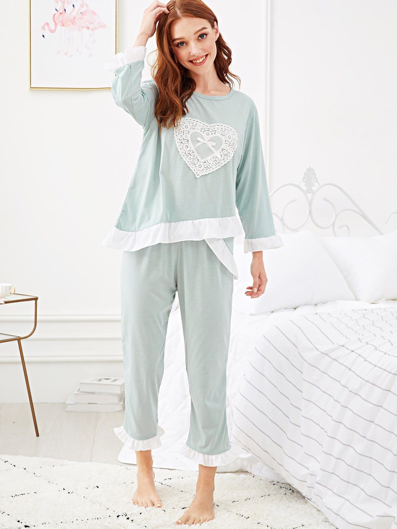Купить Комплект пижамы с оборками и кружевами, Poly, SheIn