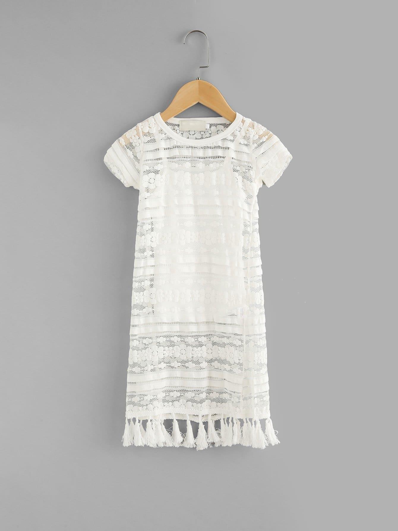 Girls Tassel Hem Lace Dress With Cami Top