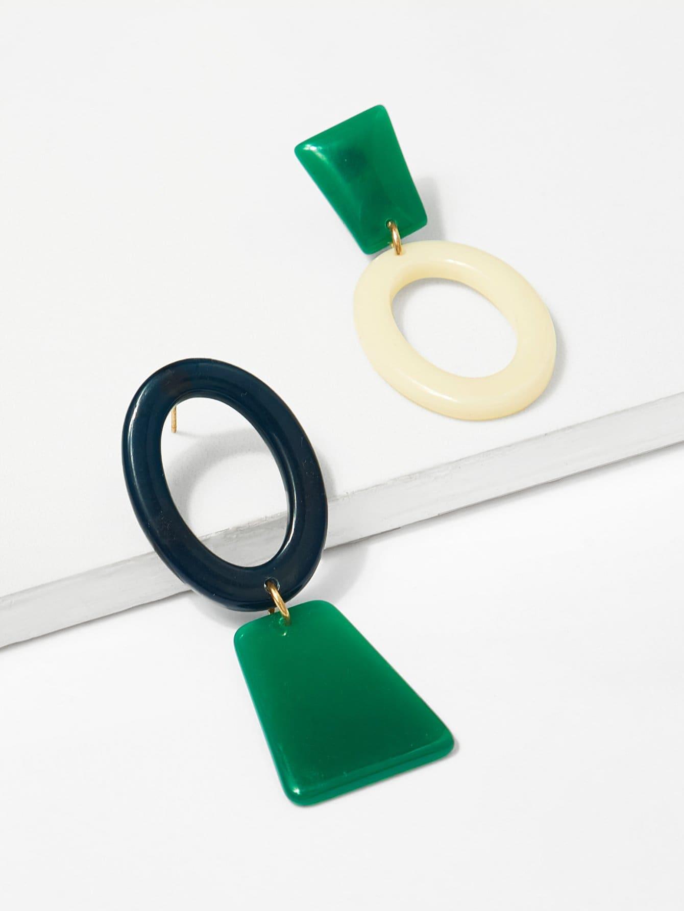 Купить Геометрические несогласованные серьги обруча, null, SheIn