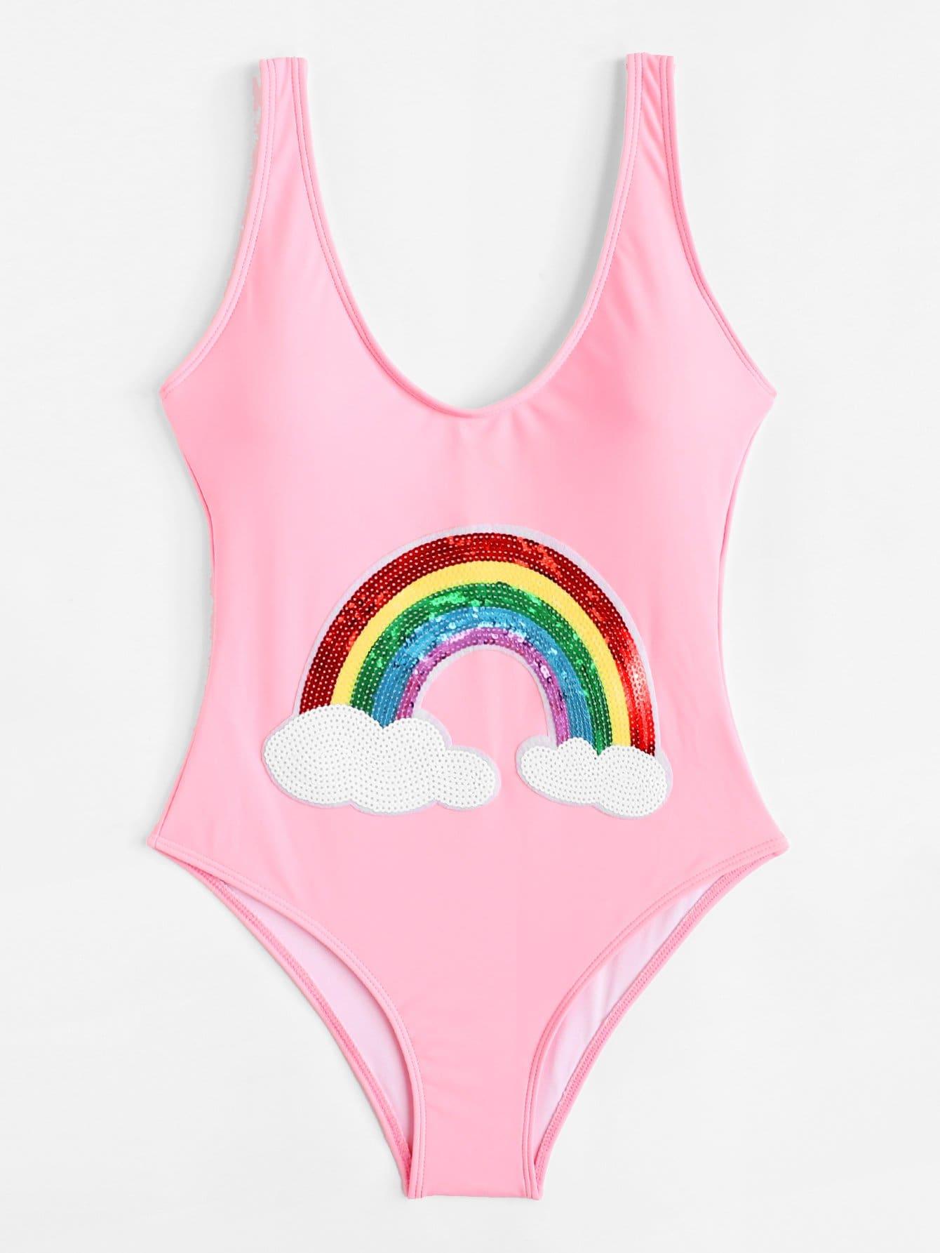 Купить Rainbow Print Low Back Swimsuit, null, SheIn