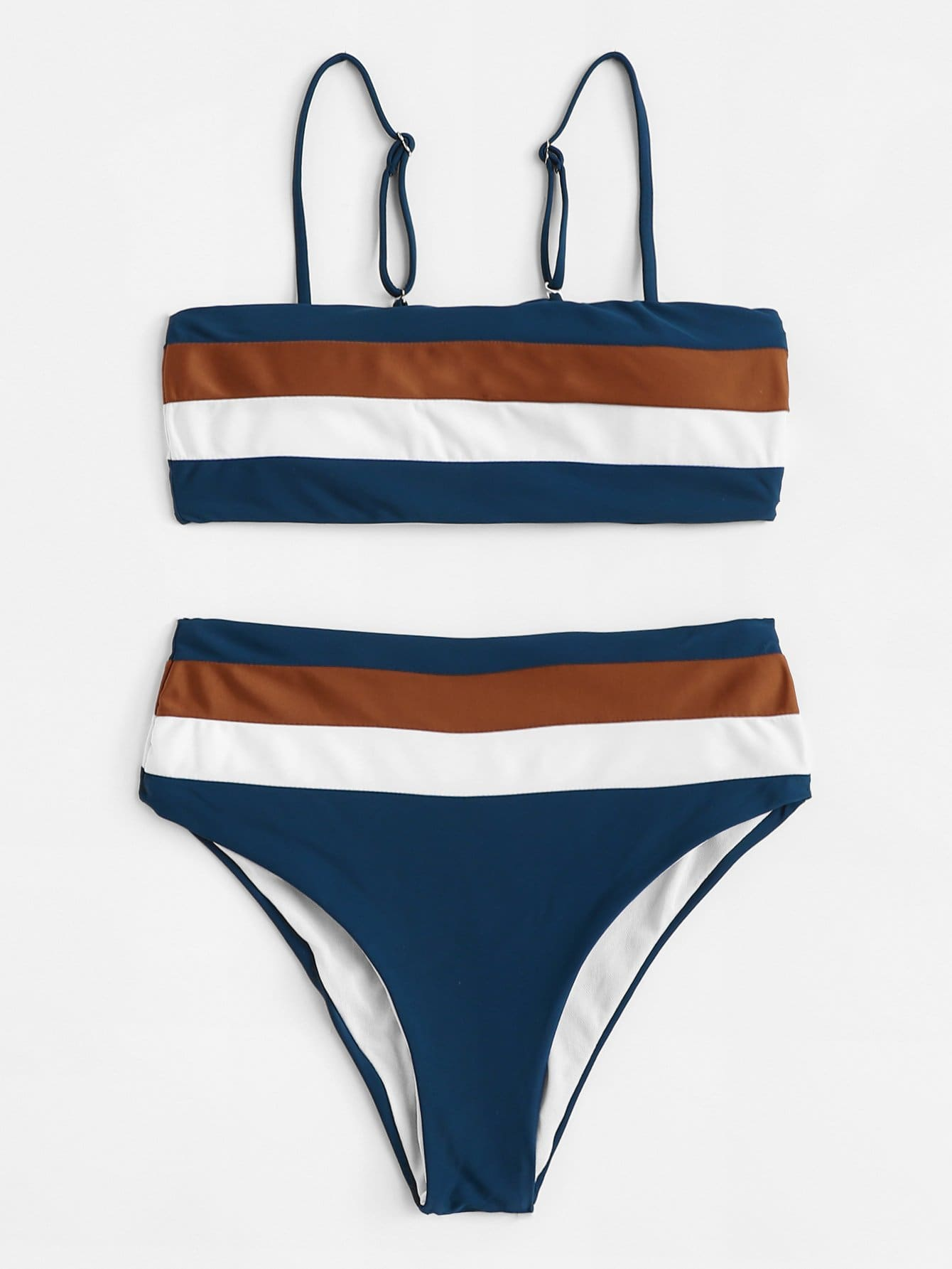 Adjustable Straps Striped Bikini Set