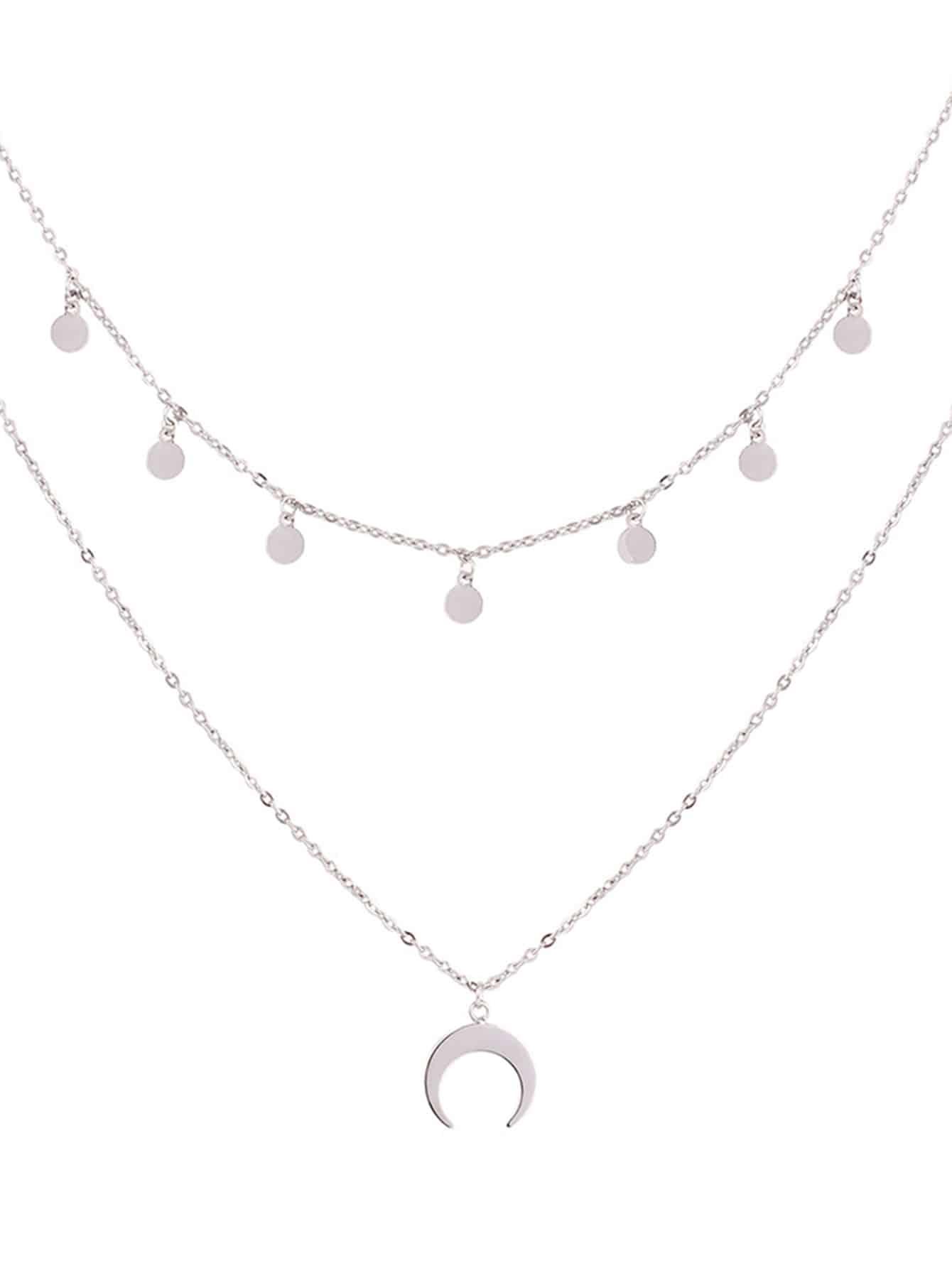 Mond Anhänger geschichteten Kette Halskette