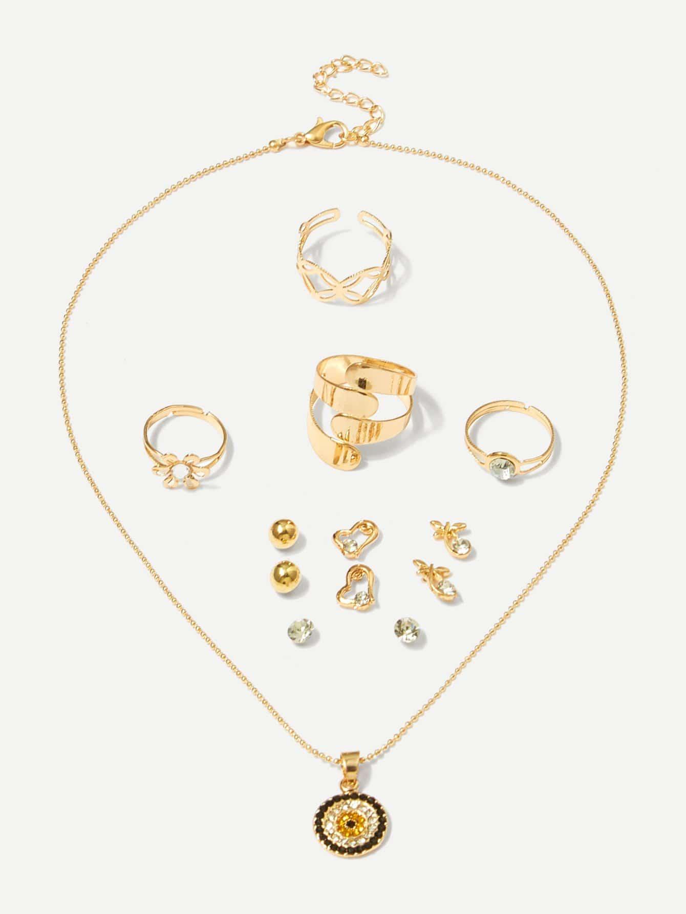 Anhänger Halskette 1pc & Ring 4pcs & Ohrringe 4pairs