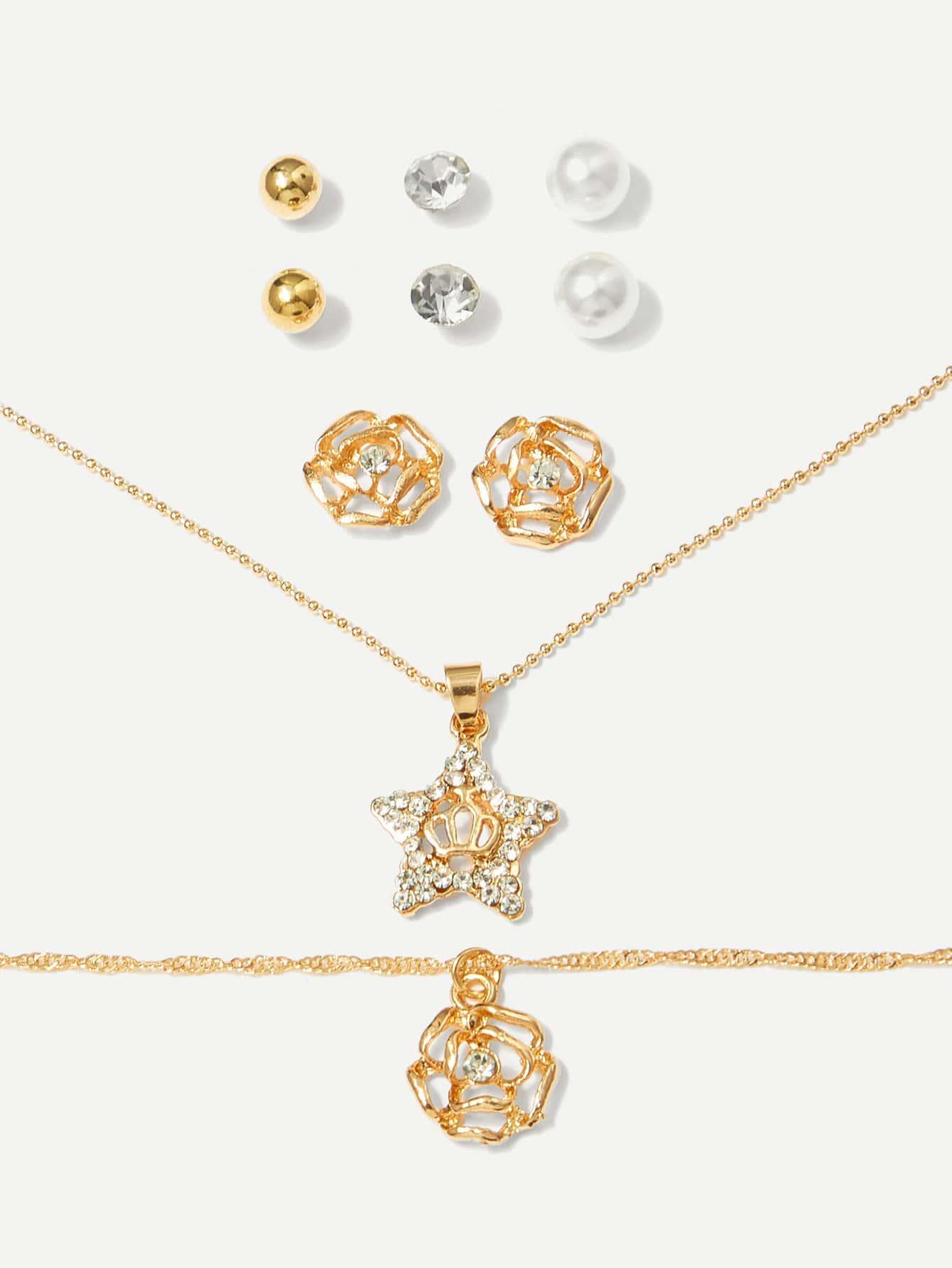 Halskette 1pc & Ohrringe 4pairs & Armband 1pc