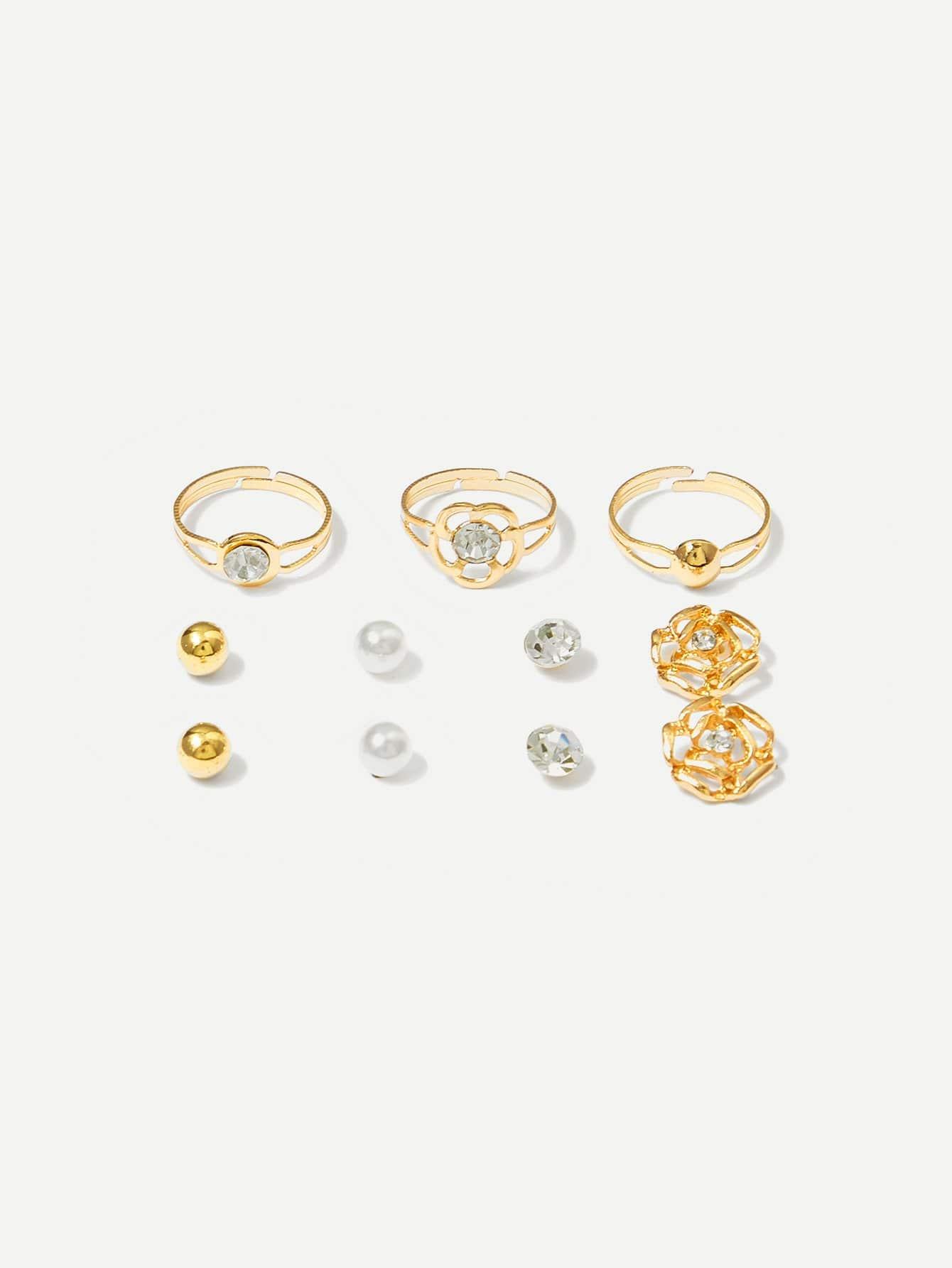 Ohrstecker 4pairs & Ring Set 3tlg