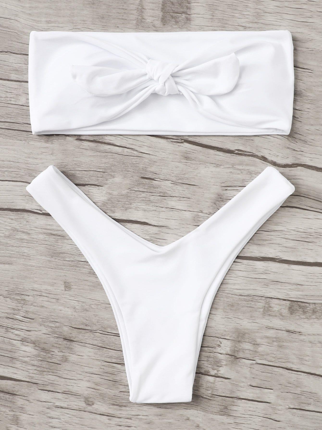 Фото - Knot Front Bandeau Bikini Set knot front ruched detail bandeau bikini set