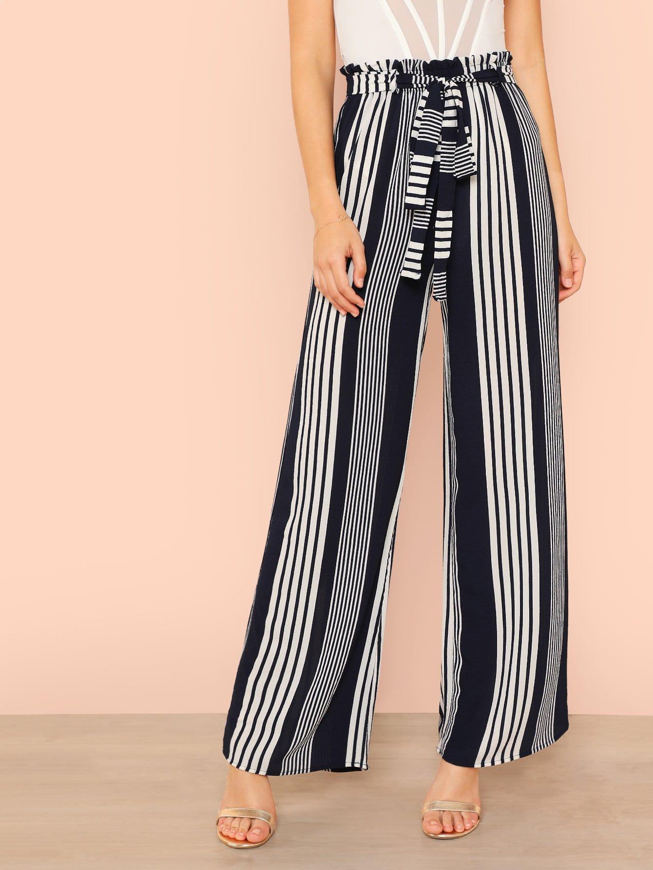 Купить Полосатые брюки и с поясом, Zorana, SheIn