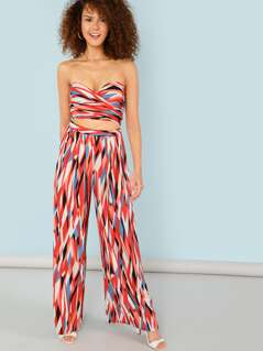 Stripe Wrap Tube Top with Flared Palazzo Pants