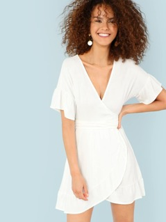 Short Sleeve Ruffle Wrap Dress