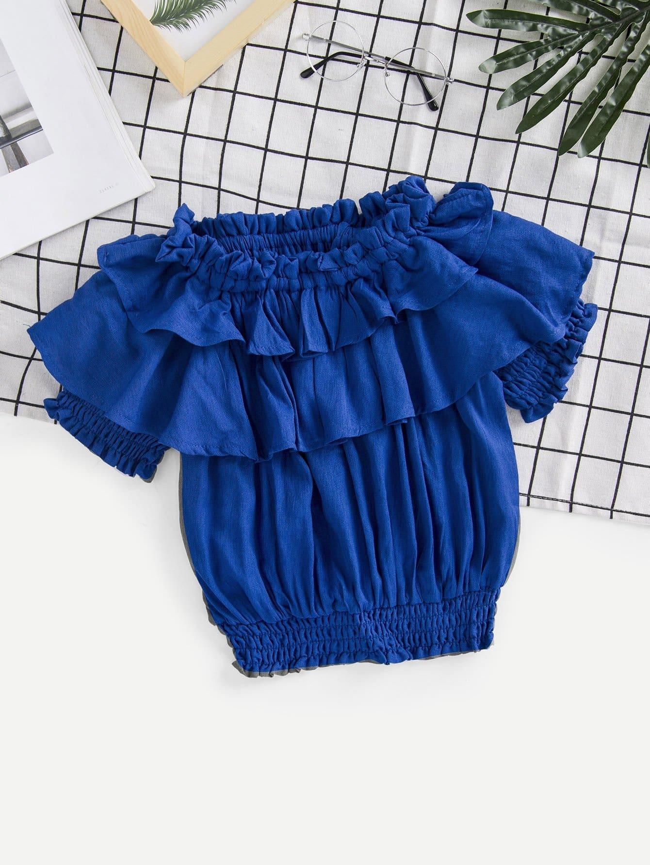 Kids Ruffle Tiered Shirred Hem Blouse lace insert tiered ruffle hem blouse