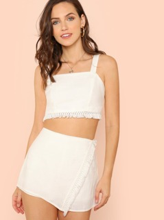 Fringe Crop Top and Overlap Shorts Set