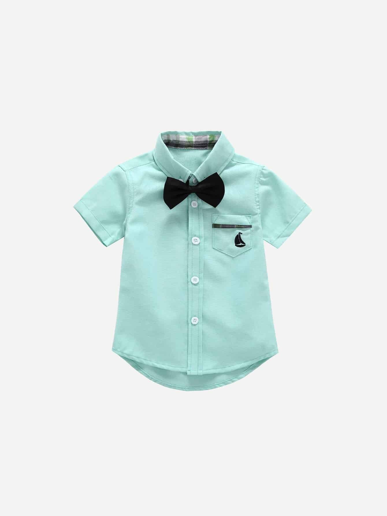 Boys Tie Neck Curved Hem Blouse self tie neck cuffded sleeves curved hem blouse