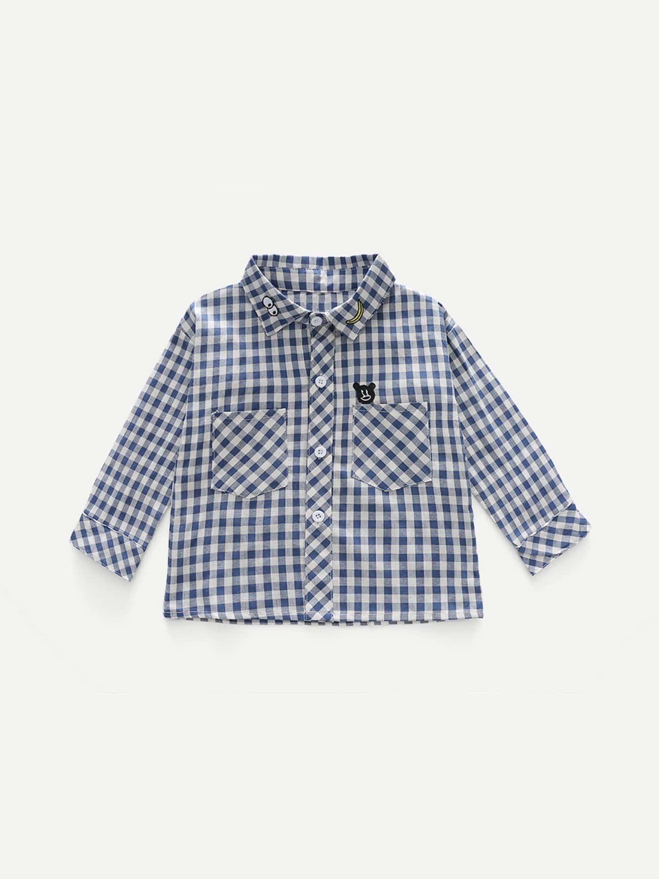 Kids Embroidery Gingham Blouse kids tie neck gingham blouse