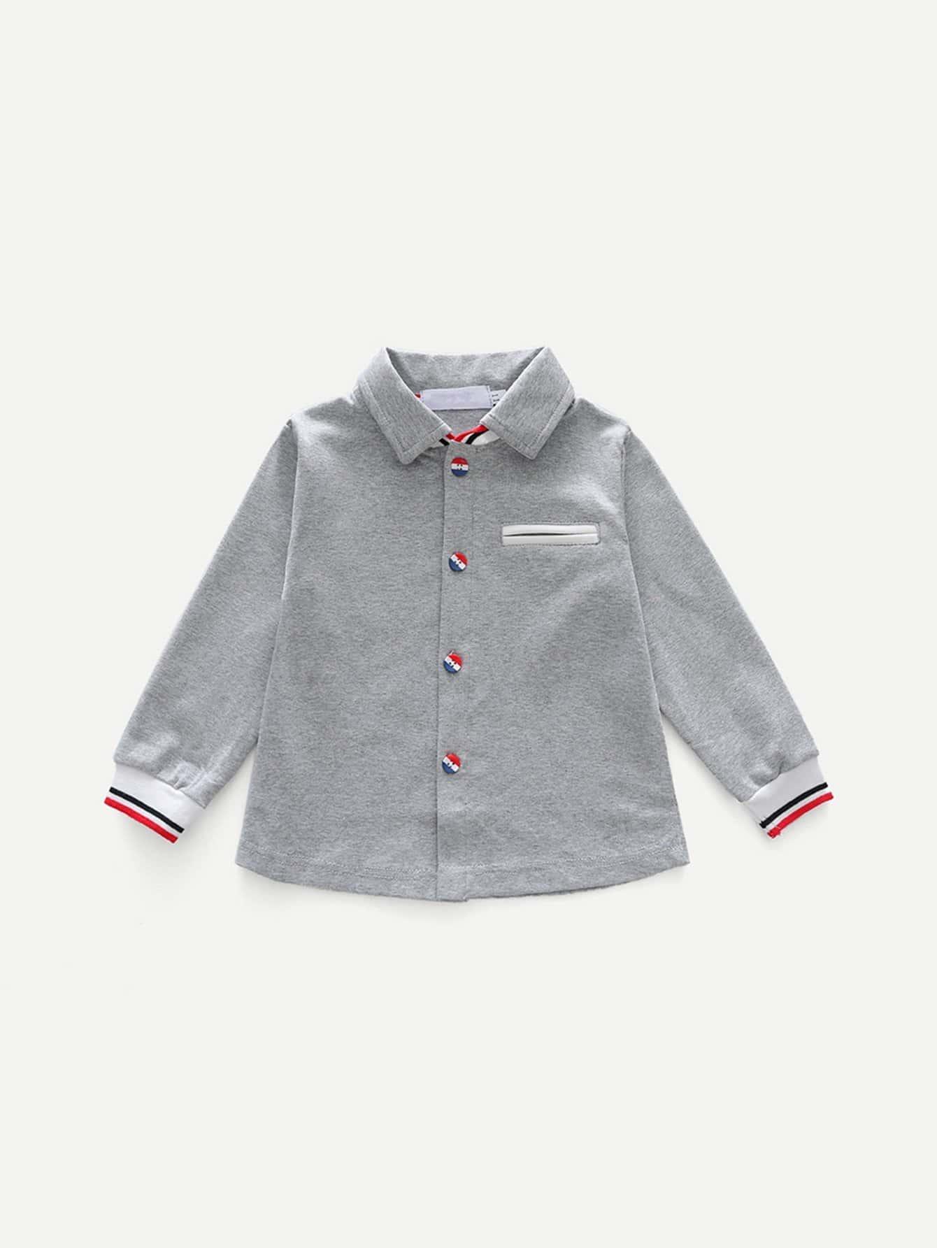 Kids Striped Detail Plain Blouse kids plain denim blouse