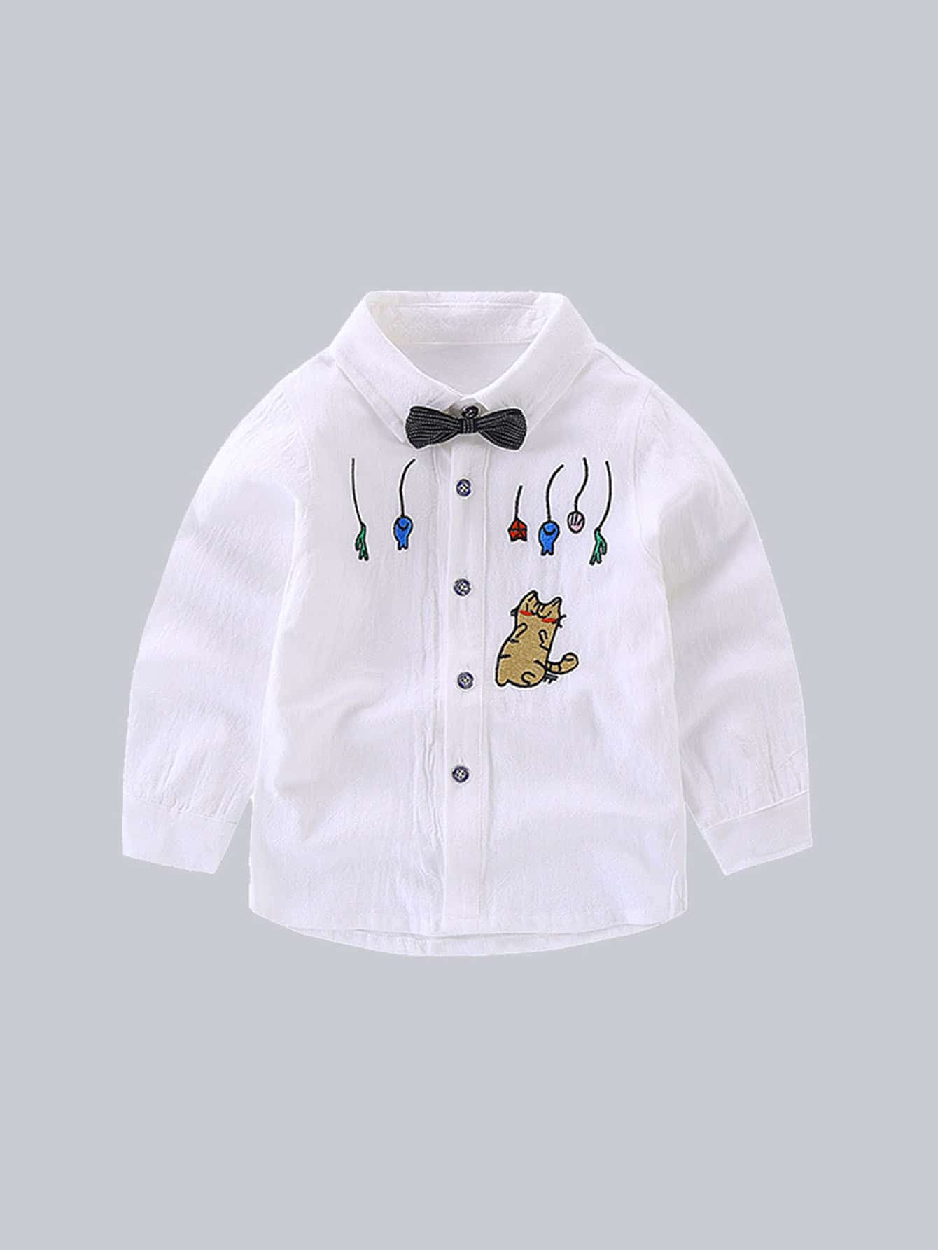 Kids Tie Neck Cartoon Print Blouse kids tie neck gingham blouse