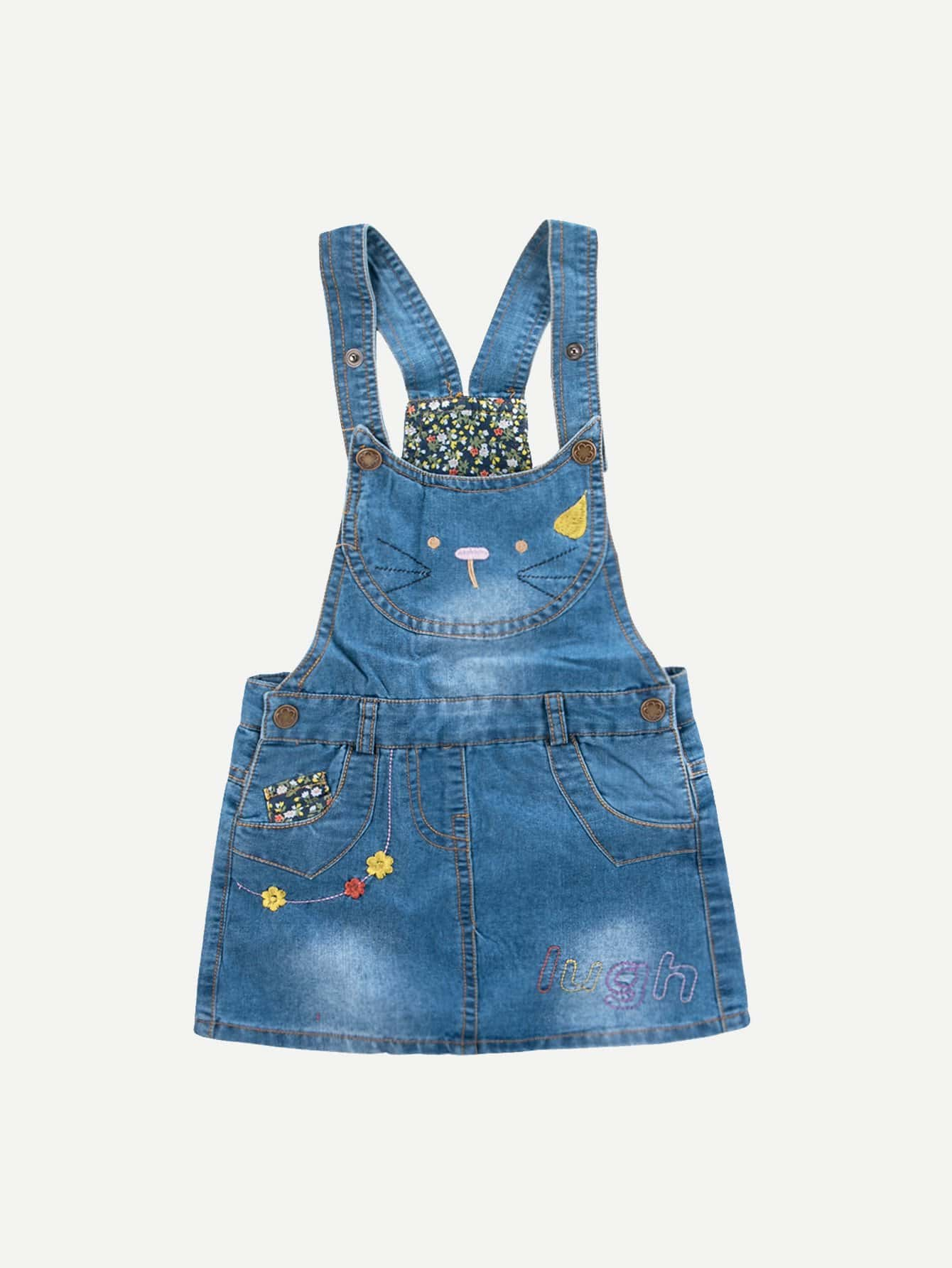 Kids Embroidery Denim Overall Dress overall yumi overall