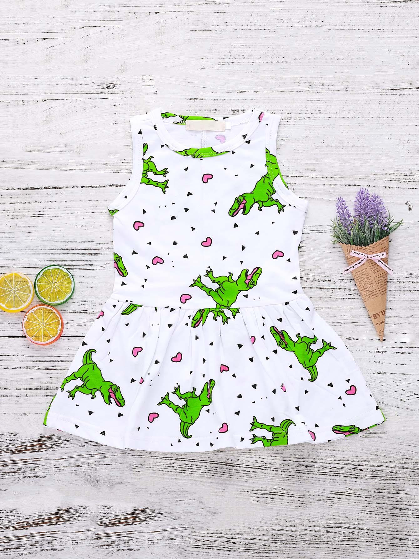 Фото Girls Dinosaur Print Vest Dress