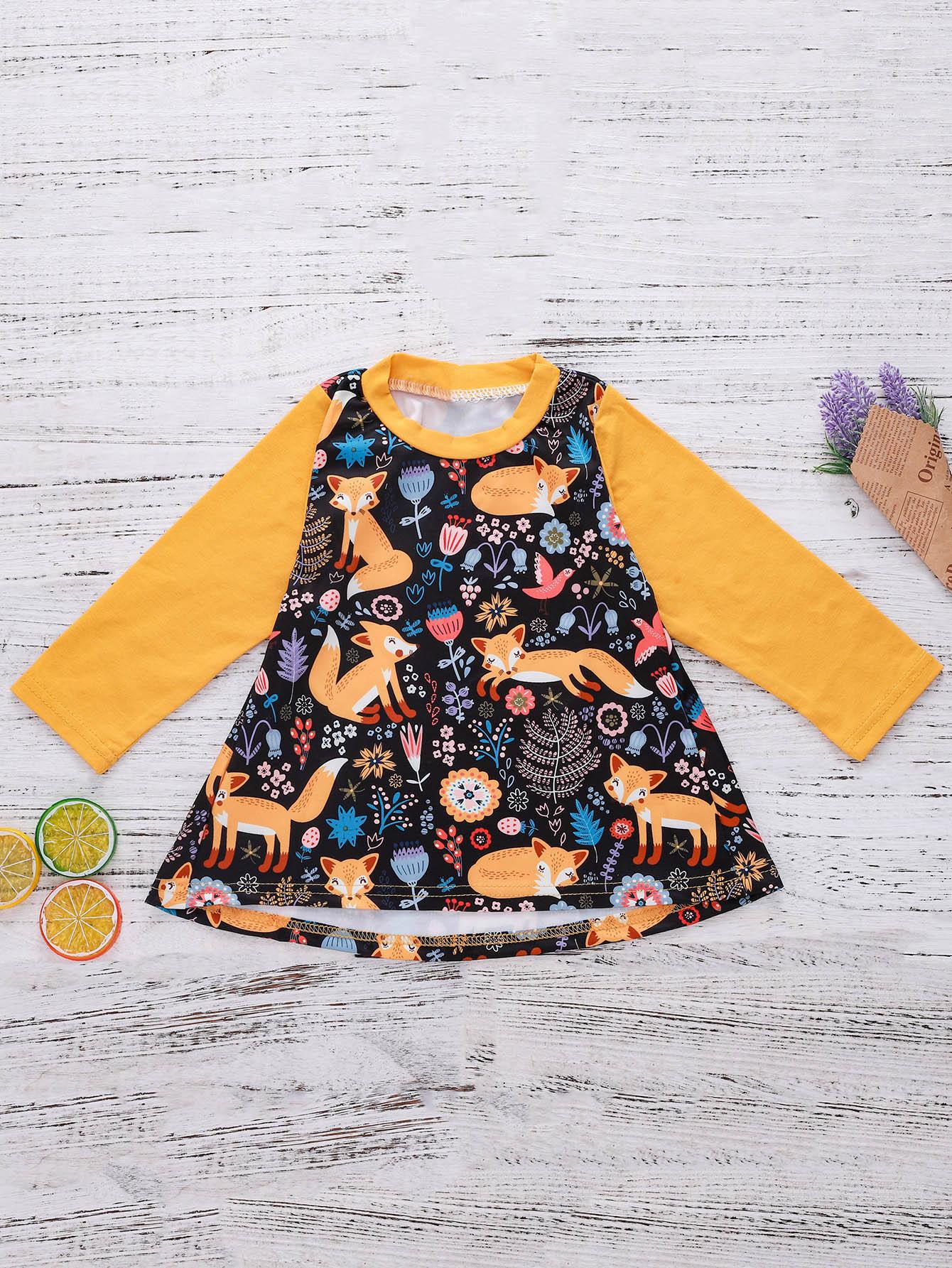 Kids Contrast Panel Cartoon Print Dress kids contrast panel sleeveless dress