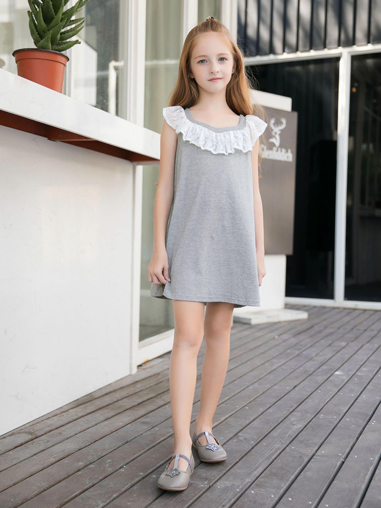 Kids Contrast Lace Plain Dress contrast mesh box pleated plain dress