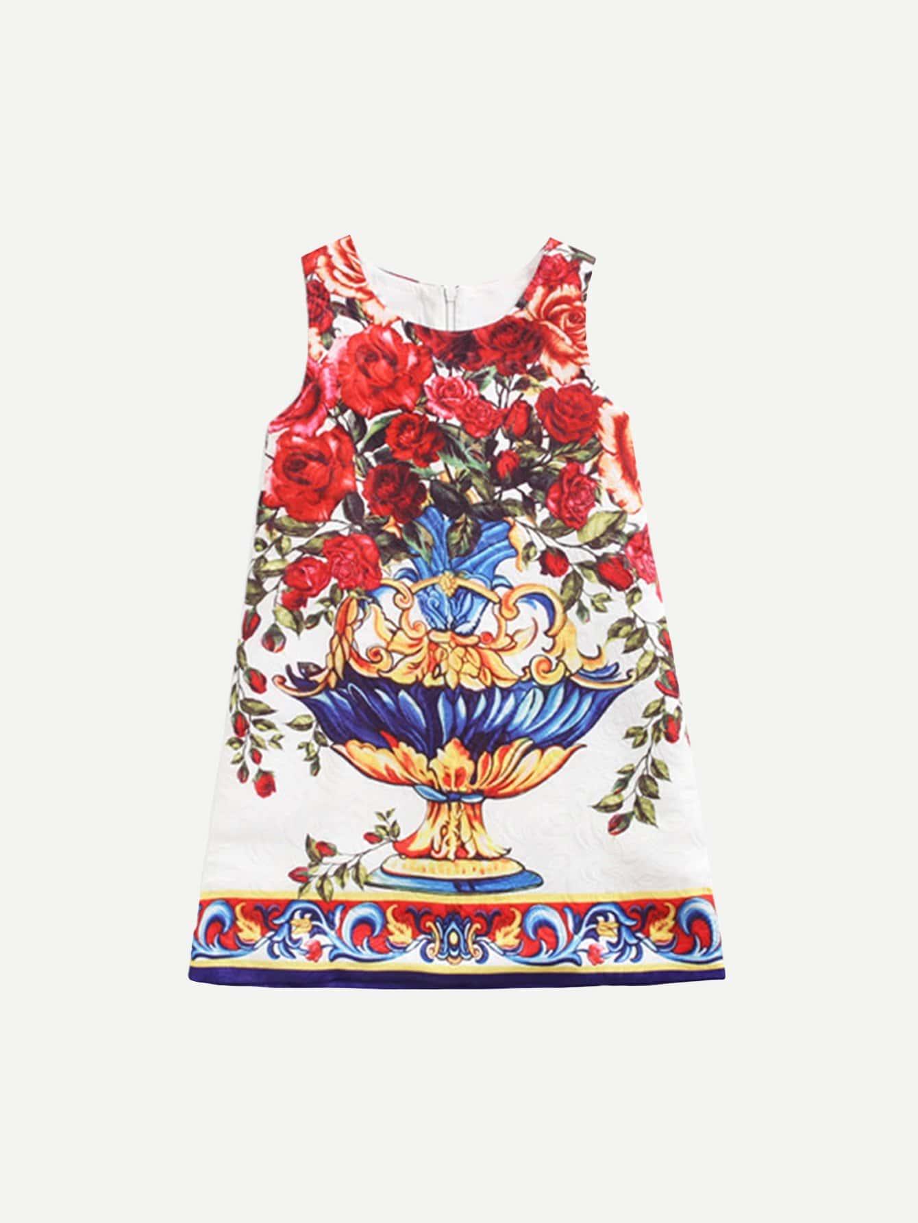 Фото Girls Floral Print Vest Dress
