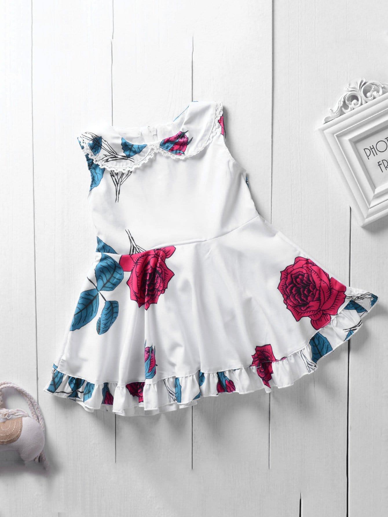 Girls Rose Print Ruffle Trim Vest Dress