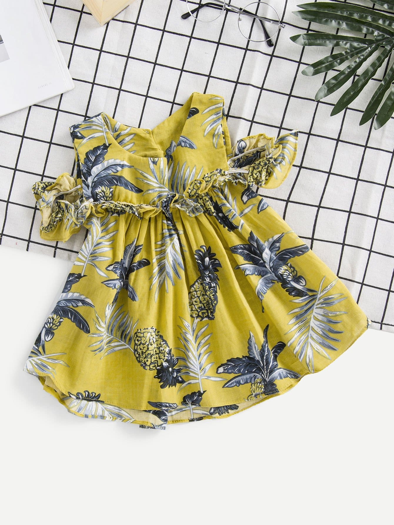Kids Ruffle Trim Pineapple Vest Dress kids pineapple print vest
