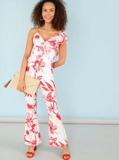 Tropical Print Flare Leg Ruffle Jumpsuit