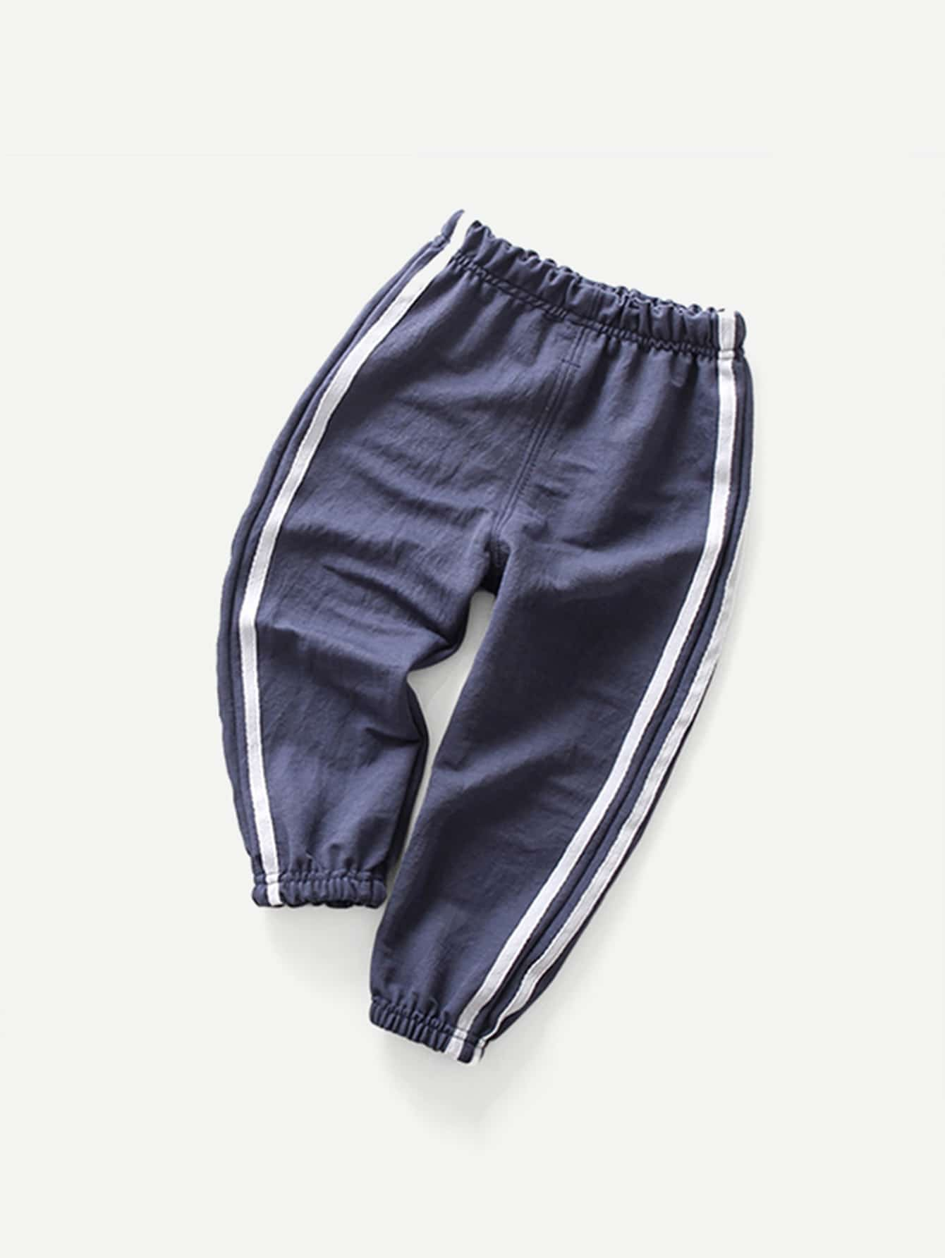 Boys Tape Detail Elastic Foot Pants