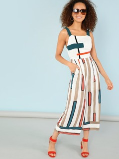 Mixed Stripe Print Flowy Jumpsuit