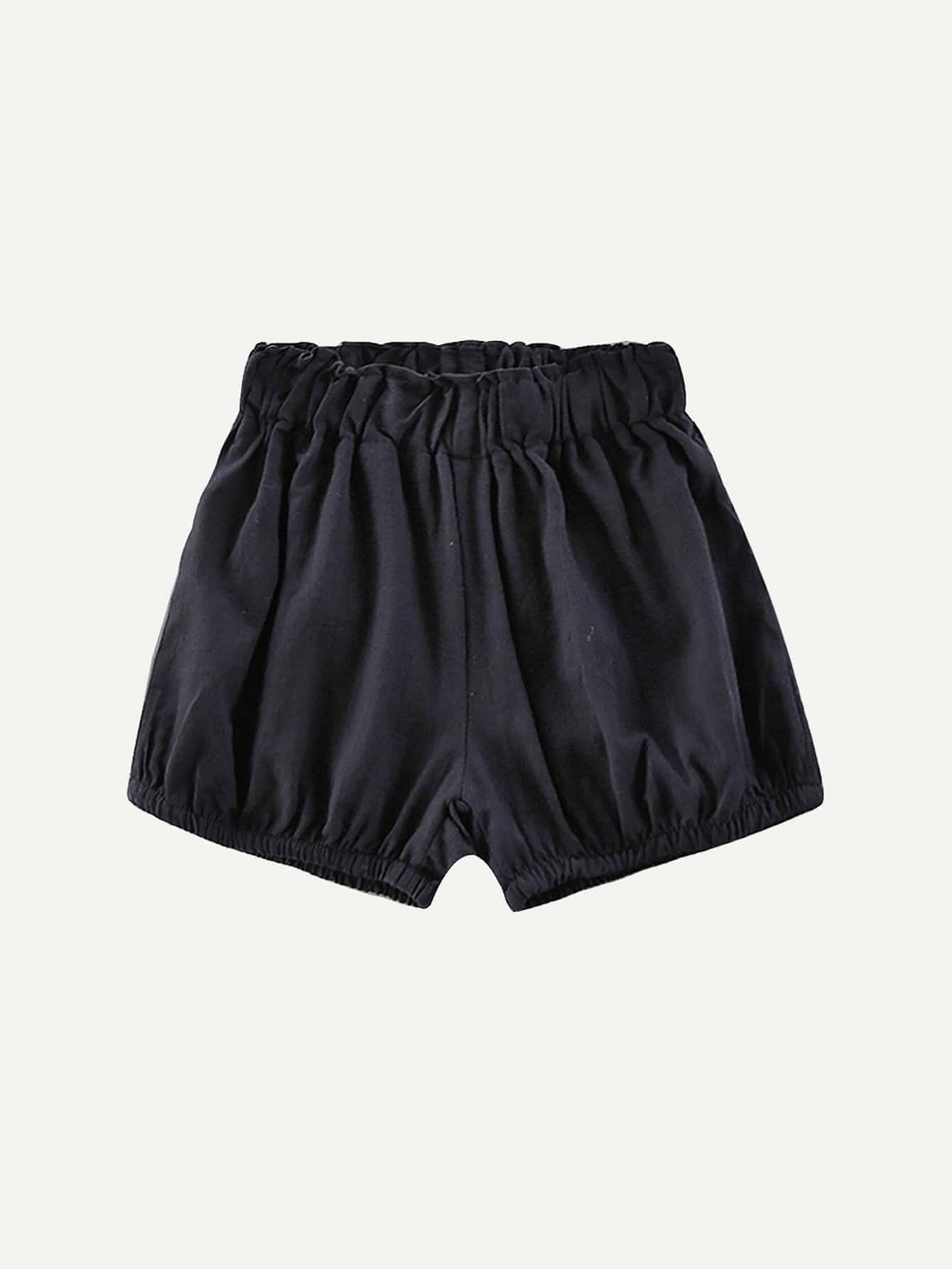 Kids Plain Elastic Waist Shorts fit 57817
