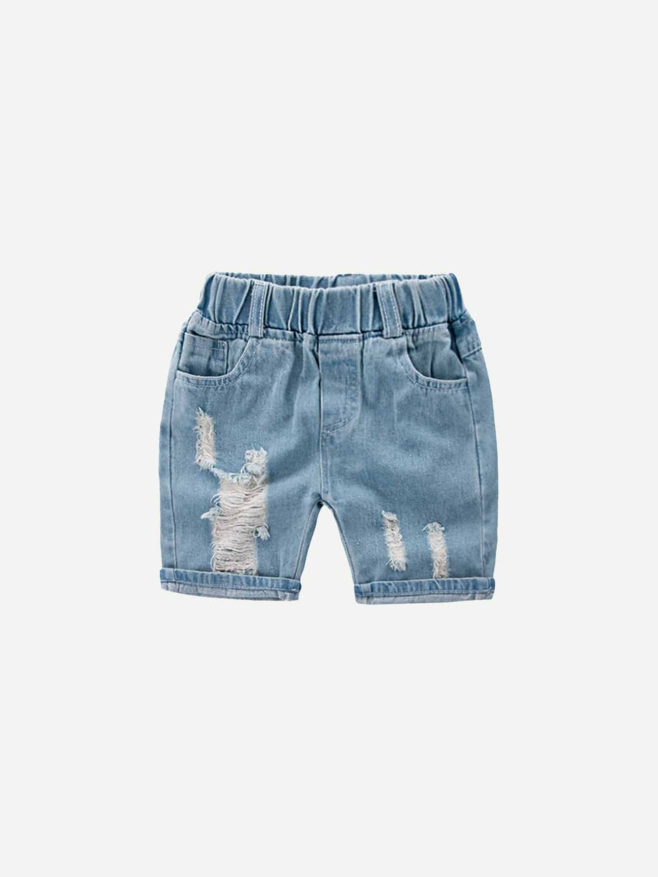 Boys Destroyed Roll Hem Denim Shorts цена 2017