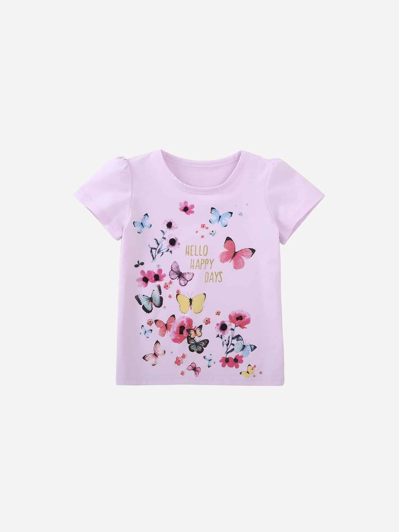 Girls Butterfly Print Tee