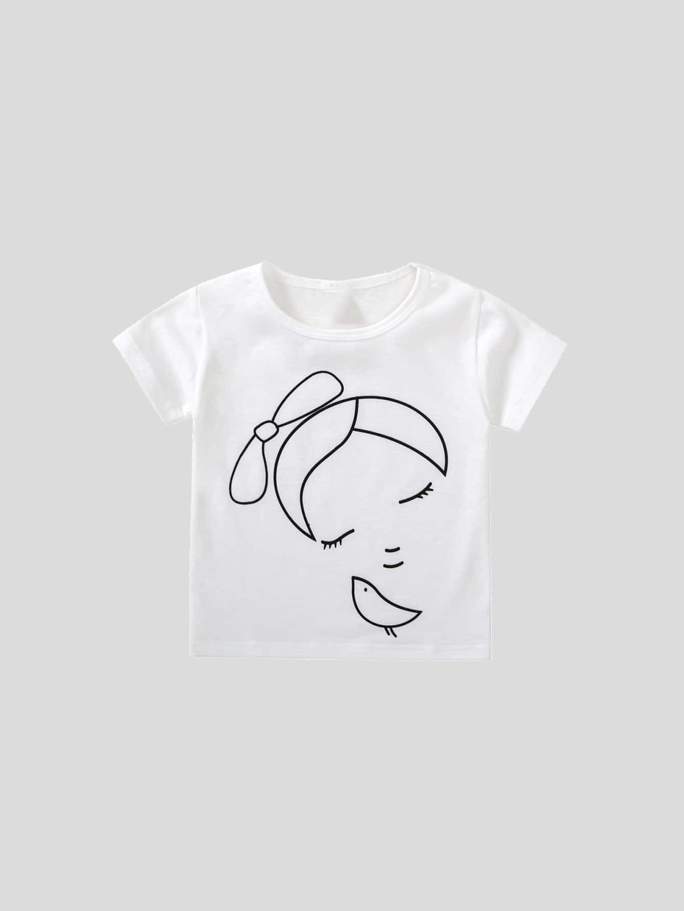 Детский абстрактный рисунок Печать Тройник, null, SheIn  - купить со скидкой
