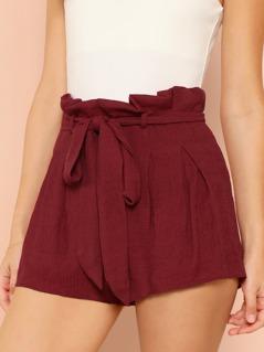 Tie Waist Paper bag Shorts