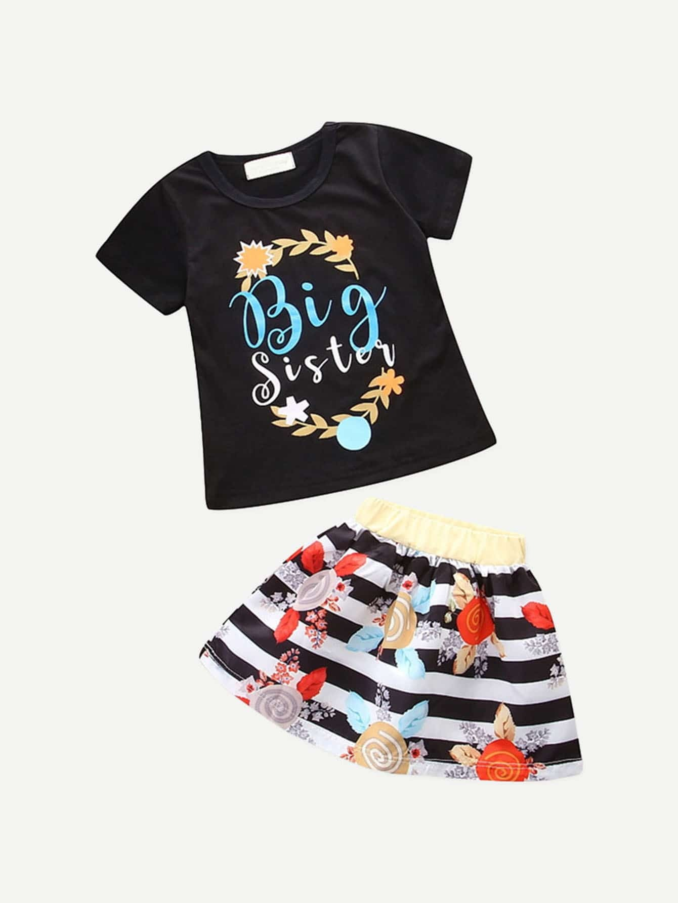 Girls Letter Print Tee With Striped Floral Print Skirt letter print striped tee