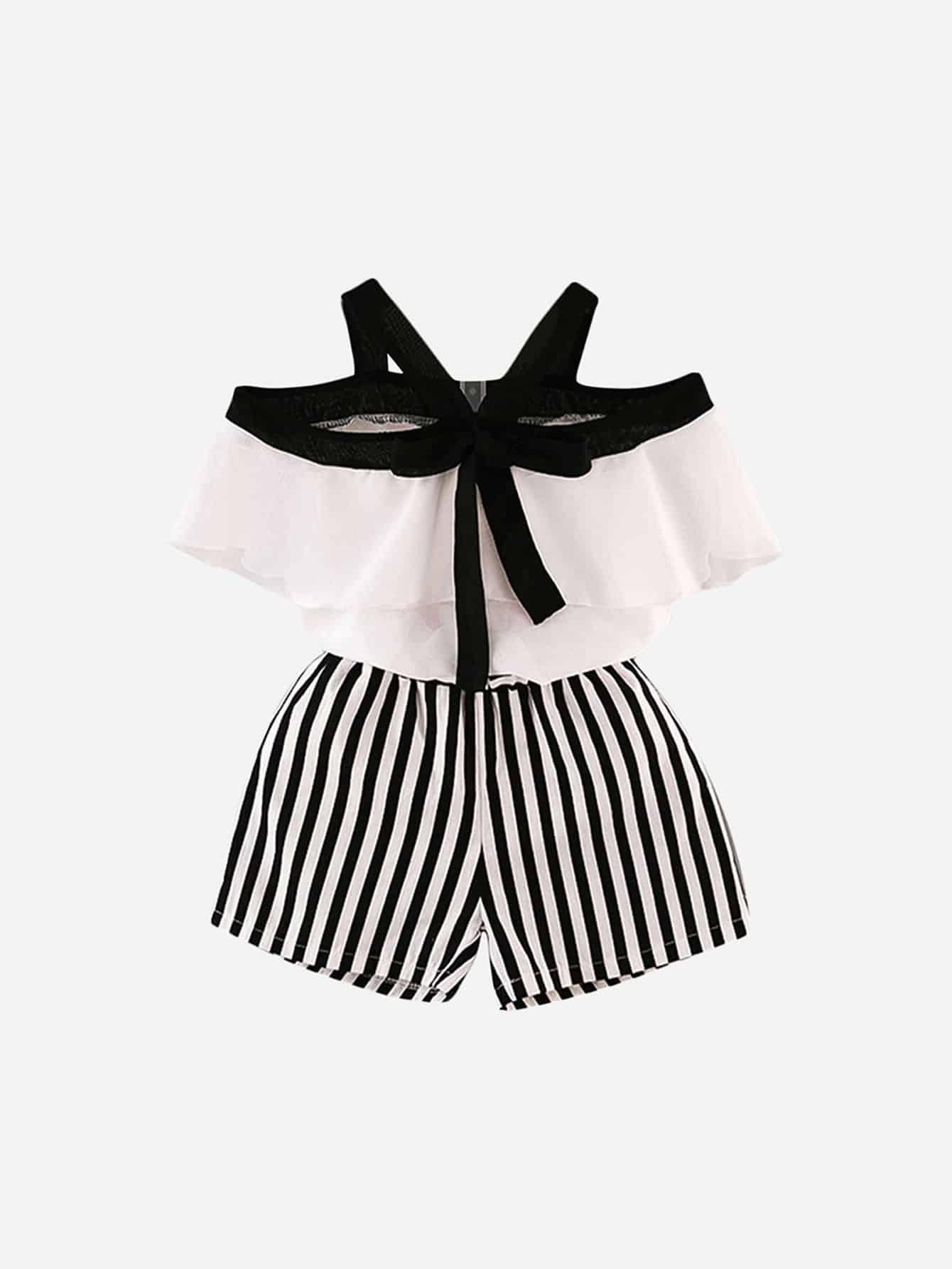 Детская рубашка с трикотажной рубашкой оборками