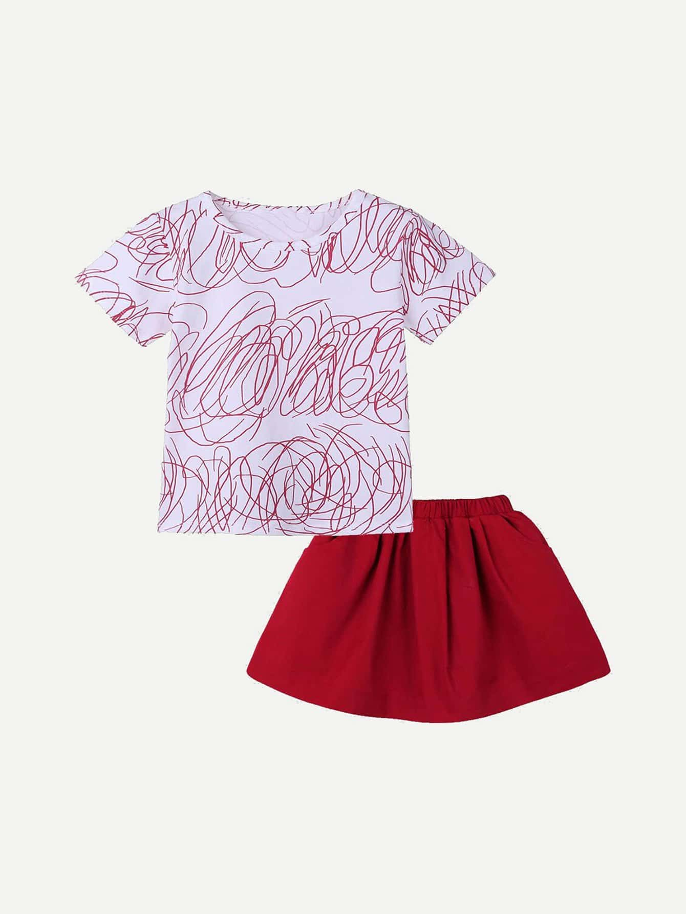Girls Line Print Tee With Plain Pleated Skirt plain t shirt a line print skirt 2 piece sets