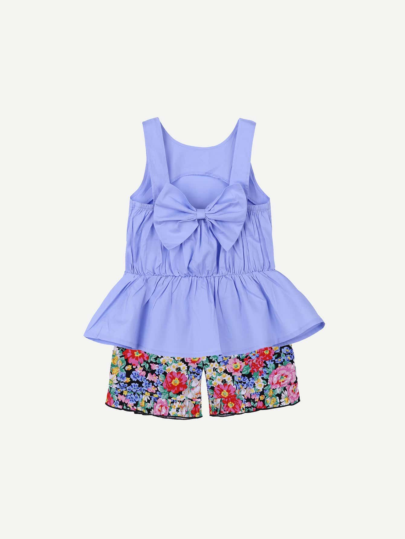 Girls Bow Tie Ruffle Hem Blouse With Calico Print Shorts